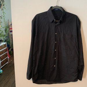 Alan Flusser Size M Mens Polka Dotted Dress Shirt